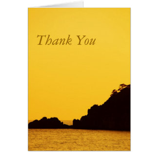 yellow sunset thank you note card