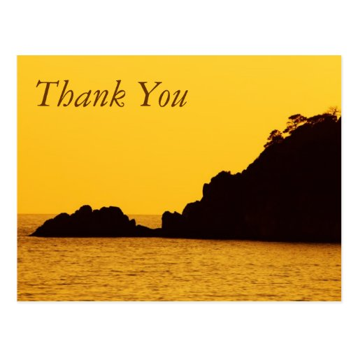 yellow sunset thank you postcard
