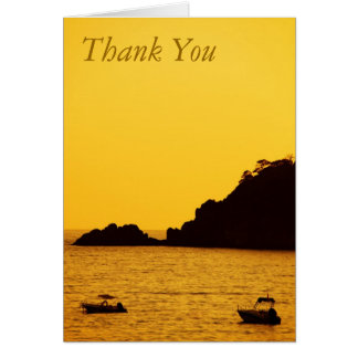 yellow sunset with boats thank you note card