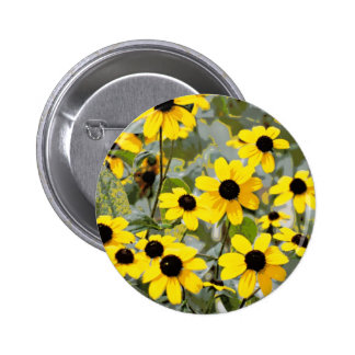 Yellow Sunshine Wildflowers Flowers Pinback Button