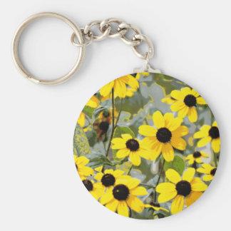 Yellow Sunshine Wildflowers Flowers Keychains