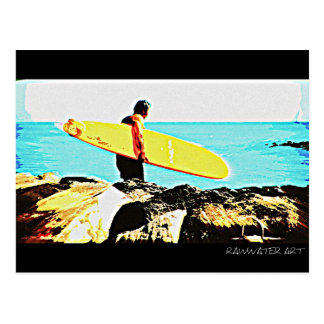 Yellow Surf Board Postcard