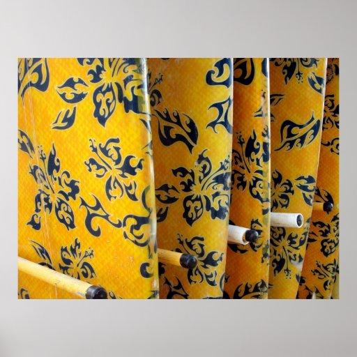 Yellow Surfboards in Racks Poster