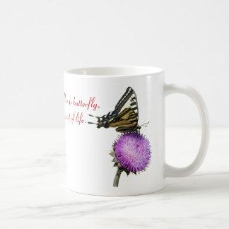 yellow swallow tail catapiller & butterfly basic white mug