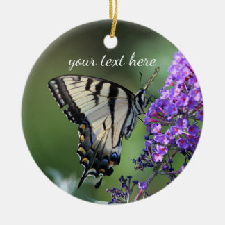 Yellow swallowtail butterfly ceramic ornament