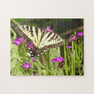 Yellow Swallowtail Butterfly Pink Flowers Jigsaw Puzzle