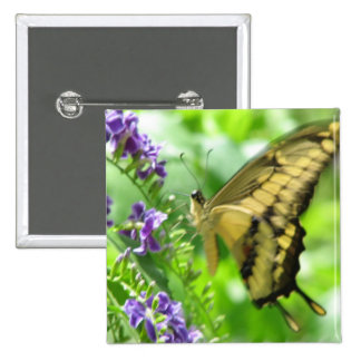 Yellow Swallowtail Butterfly Square Pin