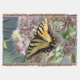 Yellow swallowtail butterfly throw blanket