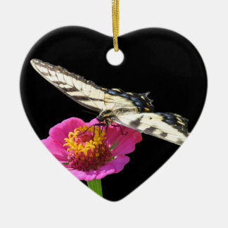 Yellow Swallowtail Ceramic Heart Decoration