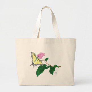Yellow Swallowtail Pointillism Butterfly Flower Jumbo Tote Bag