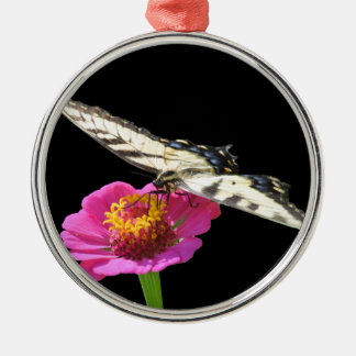 Yellow Swallowtail Silver-Colored Round Decoration