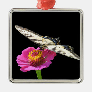Yellow Swallowtail Silver-Colored Square Decoration