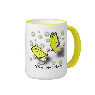Yellow Swallowtails And Daisies in 3D Ringer Mug