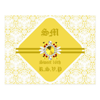 Yellow Sweet 16th Postcard with Gold Fonts