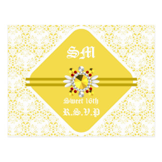 Yellow Sweet 16th Postcard with White Fonts
