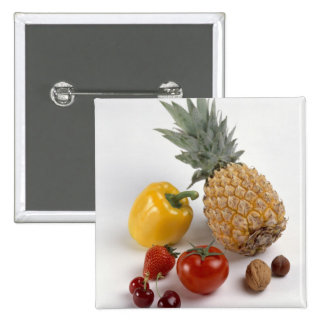 Yellow sweet pepper, tomato, pineapple, 15 cm square badge