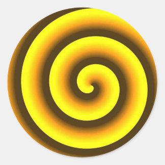 Yellow swirl round sticker