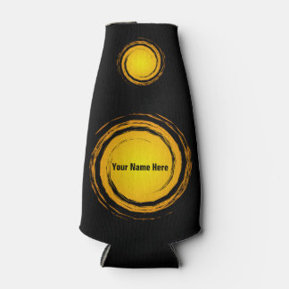 Yellow Swirling Circles Suns with Your Name Bottle Cooler