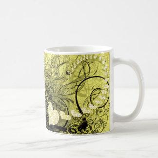 Yellow Swirls Basic White Mug