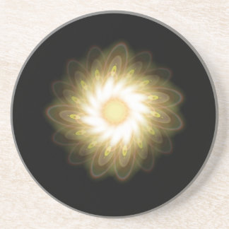 Yellow Swirls on Black Beverage Coaster
