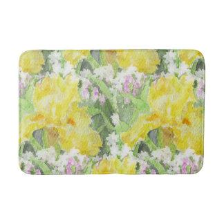 Yellow Tall Bearded Iris Watercolor Bath Mat