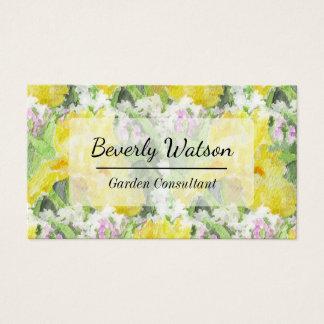 Yellow Tall Bearded Iris Watercolor Business Card