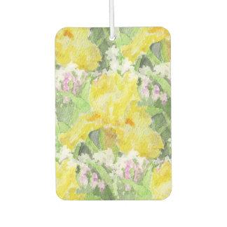 Yellow Tall Bearded Iris Watercolor Car Air Freshener