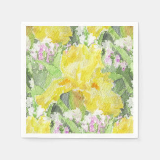 Yellow Tall Bearded Iris Watercolor Disposable Serviette
