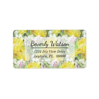 Yellow Tall Bearded Iris Watercolor Label