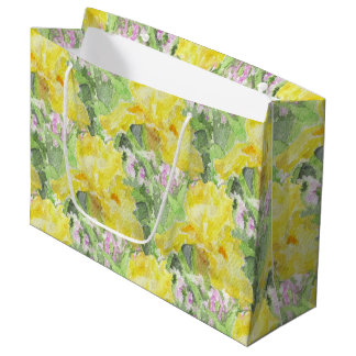 Yellow Tall Bearded Iris Watercolor Large Gift Bag