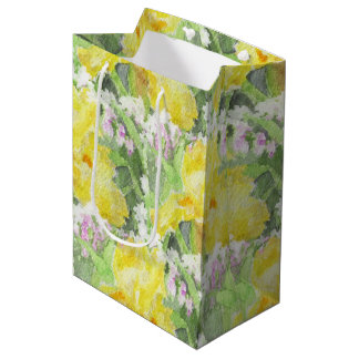 Yellow Tall Bearded Iris Watercolor Medium Gift Bag