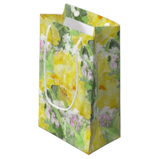Yellow Tall Bearded Iris Watercolor Small Gift Bag