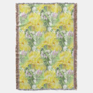 Yellow Tall Bearded Iris Watercolor Throw Blanket