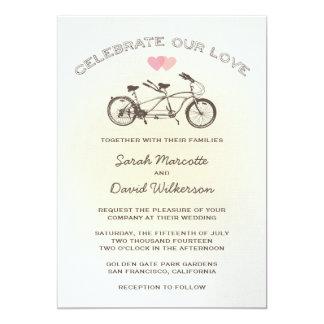 Yellow Tandem Bicycle Wedding Invitation