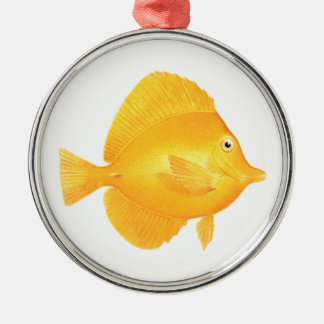 Yellow Tang Fish Metal Ornament