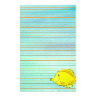 Yellow Tang Tropical Fish Orange Lined Stationery