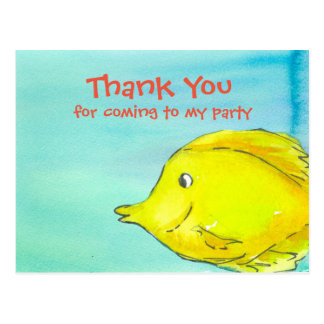 Yellow Tang Tropical Fish Party Thank You Postcard