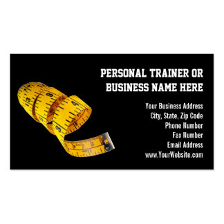 Yellow Tape Measure Personal Trainer Weight Loss Business Card Template