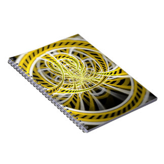 Yellow Tape Roller Coaster Ride on Fractal Rails Spiral Notebook