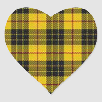 Yellow tartan heart sticker