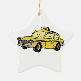 Yellow Taxi Cab Ceramic Ornament