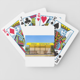 Yellow taxi station at coast in Greece Bicycle Playing Cards