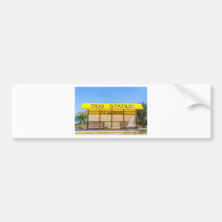 Yellow taxi station at coast in Greece Bumper Sticker
