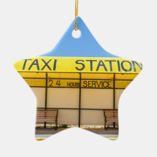 Yellow taxi station at coast in Greece Ceramic Star Decoration