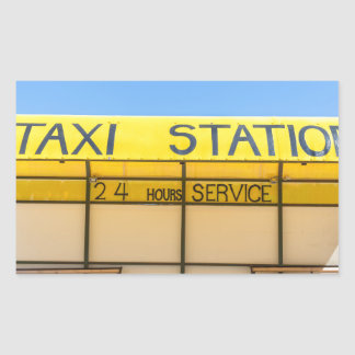 Yellow taxi station at coast in Greece Rectangular Sticker