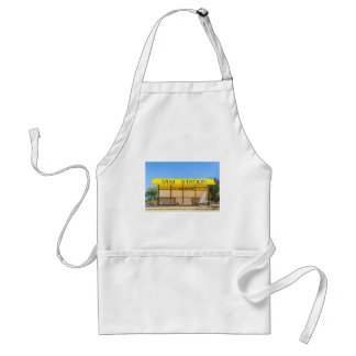Yellow taxi station at coast in Greece Standard Apron