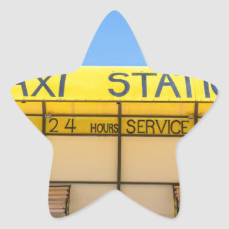 Yellow taxi station at coast in Greece Star Sticker