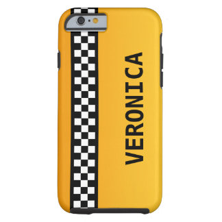 """Yellow Taxi Stripe """"Add Your Name"""" Tough iPhone 6 Case"""