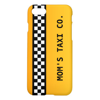 """Yellow Taxi Stripe """"Mom's Taxi Co."""" iPhone 8/7 Case"""