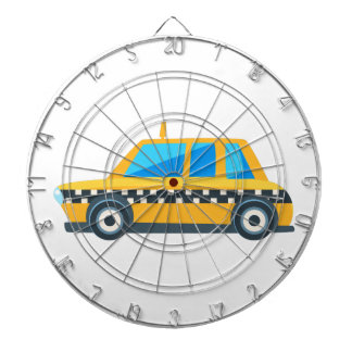 Yellow Taxi Toy Cute Car Icon. Flat Vector Dartboard